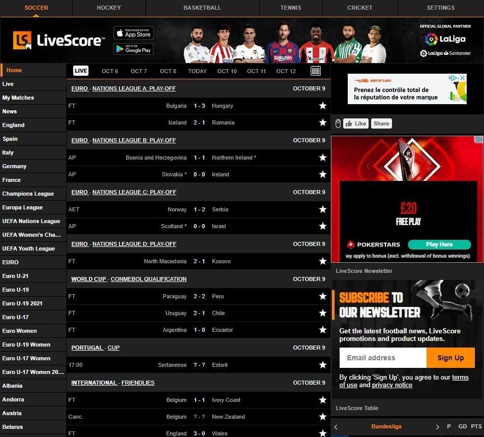 LiveScore - Acompanhe todos os jogos online